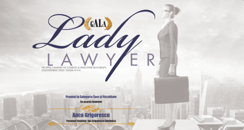 Anca Grigorescu awarded for excellence in Tax and Fiscal Law at the Gala Lady Lawyer